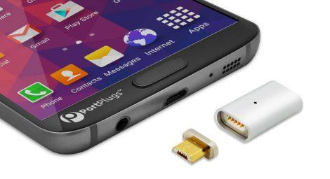 Micro usb magnetic port plug close